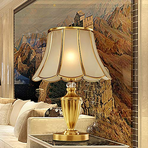 SDHouse Smart lamp Lamp All Copper Table Lamp Bedroom Bedside Lamp European Retro American Simple Table Lamp Glass Lampshade Decoration Table Light 35 * 45cm
