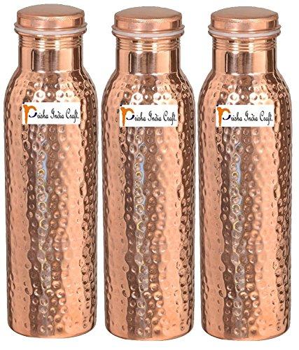 1000 ml/958,5 gram – Ensemble de 3 – Prisha Inde Craft® – Cuivre martelé Bouteille d'eau | Joint gratuit, meilleure qualité de bouteilles d'eau – Cadeau de Noël faite à la main