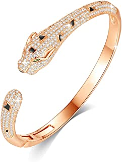 VICISION 2019 3 Color Statement Panther Cuff Bangle Bracelet Gold Plated 5A Cubic Zirconia for Women Fine Fashion Jewelry Accessories