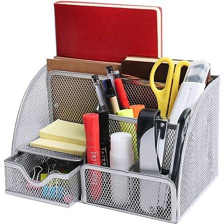 OKPOW Mesh Desk Organiser,Multi-Use Desk Tidy & Pen Holder with 6 storage and 1 Slide Drawer,Stationary Organiser for School,Home,Office desktop supplies (Silver)