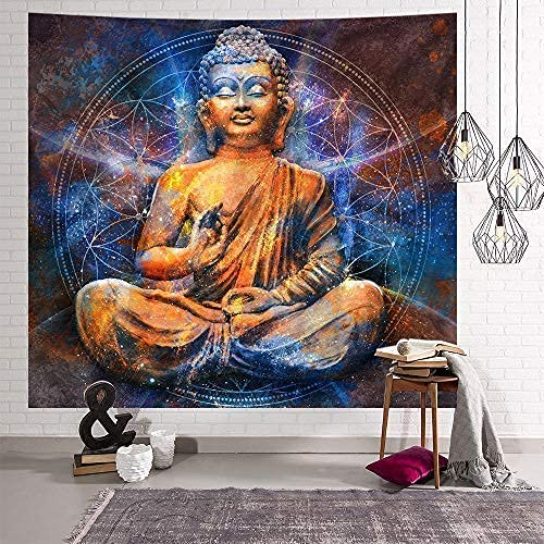 Eskuel Tapestries ,wall tapestry ,wall Hangings,dorm rooms, Indian Buddha statue Mandala Bohemian mural Black and white blanket 150x150cm (59x59 inches)