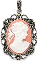 925 Sterling Silver Marcasite Plastic Cameo Pendant Charm Necklace Fine Jewelry Gifts For Women For Her