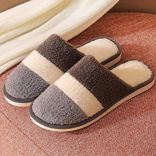 Nwarmsouth Nuevas Zapatillas Slip On Mules para Hombre,Zapatillas de casa de otoño e Invierno, Zapatos de algodón cálido Antideslizante-Coffee_42-43,Casa Cálido Felpa Suave Invierno Pantuflas
