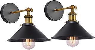Lot de 2 Lampe Applique Murale Industrielle, iDEGU Lampe Murale de Style Edison en Forme de Parapluie E27 Métal Plafonnier...