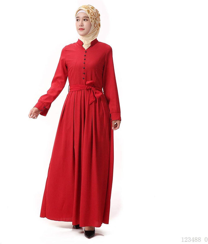 BaronHong Women's Muslim Islamic Summer Linen Robe Abaya Maxi Dress