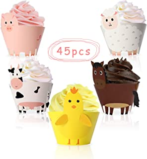 45PCS Farm Animal Cupcake Wrappers Toppers for Baby Shower Farmhouse Birthday Party Supplies Cake Decorations