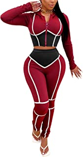 Women's Tracksuit 2 Piece Outfits Zipper Hoodie Crop Jacket Bodycon Sweatpants Sportswear Jogging Set Sweatsuit
