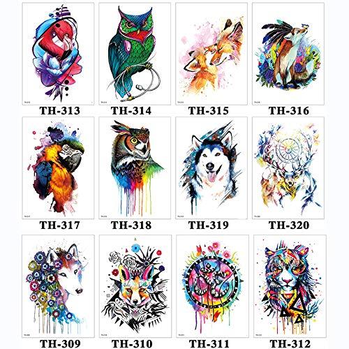 12 Pcs Étanche Tatouage Temporaire Autocollant Bras Tatouage Zèbre Animal Pleine Fleur Tatouage Art Tatouage
