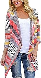 LENXH Women's Cardigan Jacket Print Jacket Irregular Tops Color Jacket Loose Jacket Fashion Long Sleeve Top