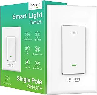 Smart Light Switch ، Gosund 15A Smart Wifi Light Switch با کنترل از راه دور و تایمر ، با الکسا ، Google home و IFTTT ، بدون توپی مورد نیاز ، نصب آسان و ایمن ، ETL و FCC در این لیست کار می کند. (1 پک)