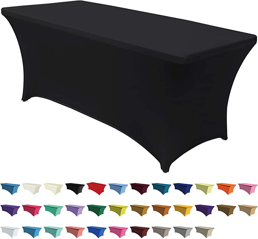 ABCCANOPY Spandex Table Cover 6 Ft Fitted 30 Colors Polyester Tablecloth Stretch Spandex Table Cover Table Toppers Black