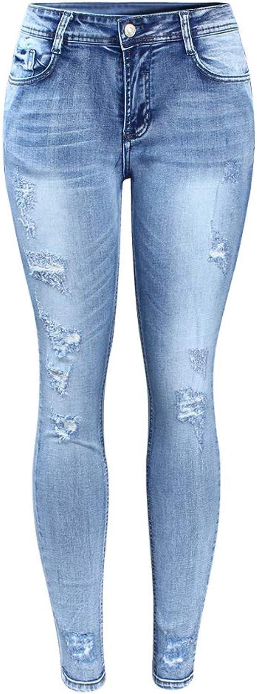 FSDFASS Jeans Classic Distressed Jeans Women Mid Waist Stretchy Ripped True Denim Pants Skinny Pencil Jeans Woman