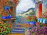 Kit de pintura de diamantes casa junto al mar bordado de diamantes venta paisaje flor imágenes de diamantes de imitación mosaico decoración del hogar A3 45x60cm
