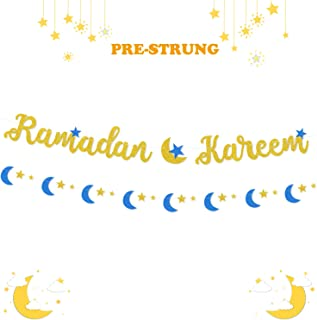 Ramadan Kareem Banner Eid Mubarak Festival Party Decoration Gold Blue Glitter (NO-DIY)