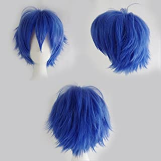 Women Mens Short Fluffy Straight Hair Wigs Anime Cosplay Party Dress Costume Wig (Dark Blue)