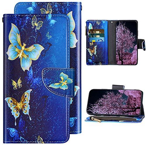 Kompatibel mit Samsung Galaxy A71 Handyhülle Leder Handy Tasche Glänzend Schutzhülle Magnet Flip Case Brieftasche Klapphülle Leder Hülle Gemalt Muster mit Kartenfächer,Gold Schmetterling