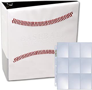 "White Stitched Baseball Card Collectors Album with 25 Premium Ultra Pro 9 Pocket Pages Included (3"" D-Ring Binder w/25 Pages)"