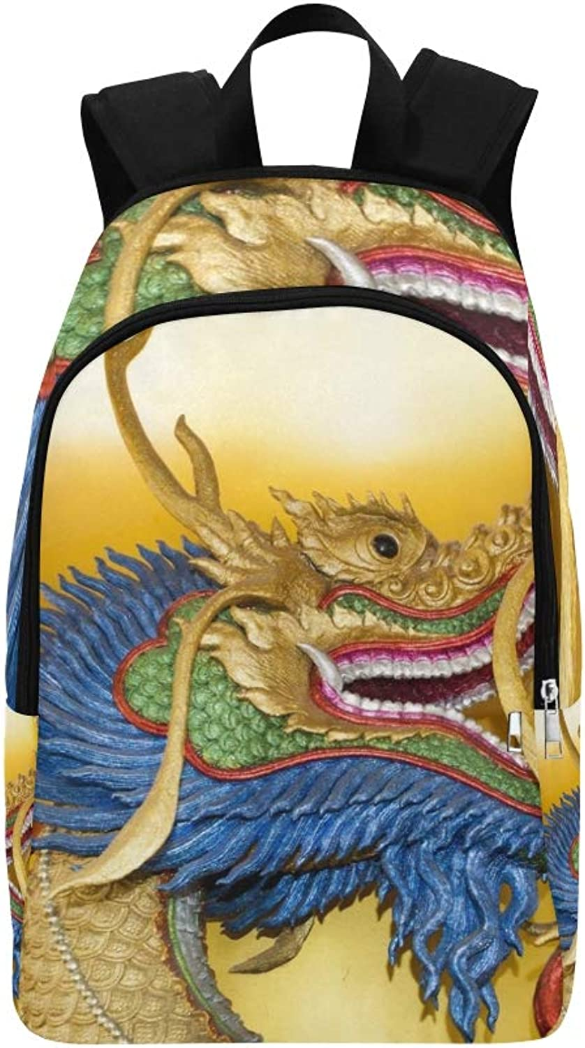 Dragon Head Sculpture On Wall Temple Casual Daypack Travel Bag College School Backpack for Mens and Women