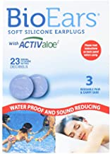BioEars Soft Silicone Earplugs with ACTIValoe. Premium silicone. Protection from Water and Noise (3 Pairs)