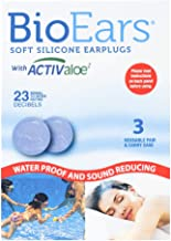Bio Ears Soft Silicone Earplugs Protection 3 Pairs, Blue, Reusable with Carry case, Contains Activaloe - Antimicrobial Product Protection.