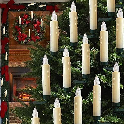 Hoolees' Classic LED Christmas Tree Candle Lights Wireless Flameless Flickering,Clip-on,TUV Listed,Battery Operated with Control for The Christmas Tree Decorations and Ornaments. (20Pcs Ivory)