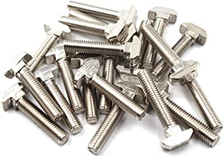 T Bolt Set Screw Bolt Fastener Tool for T-Slotted Aluminum Extrusion Nickel Plated Carbon Steel 45 Series M8X20mm 20PCS