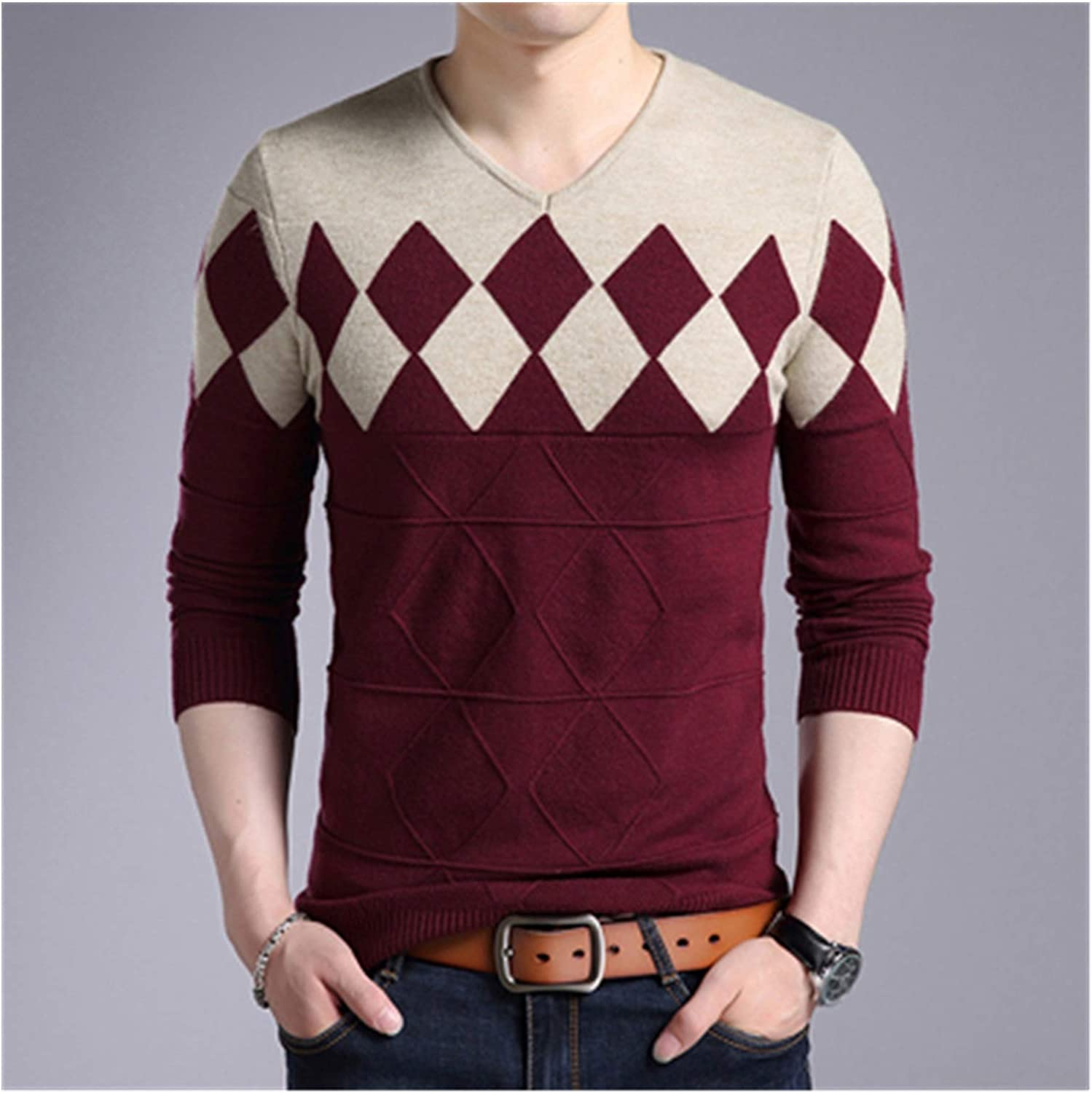 LYYQH Autumn Winter Mens Pullover Sweater Men Turtleneck Casual V-Neck Sweater Men's Slim Fit Knitted Pullovers Clothing 3XL (Color : Red, Size : Large)