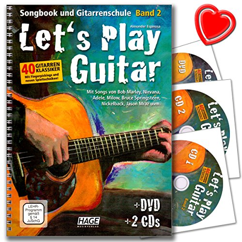 Let's Play Guitar Band 2 - Gitarrenschule von Alexander Espinosa mit DVD, 2 CDs, bunter herzförmiger Notenklammer - HINWEIS! Lehrprogramm/Lehrvideo gemäß §14 JuschG