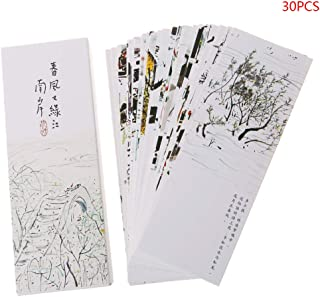 Cher9 30pcs Creative Chinese Style Paper Different Design Bookmarks Painting Cards Retro Beautiful Boxed Book Markers Unique Gifts