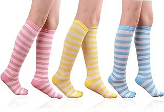 Girls Knee High Socks Cotton Cute Fashion Legging Stripe or Round Dot Dress Sock