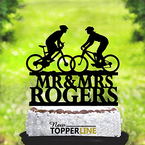 Susie85Electra Wedding Cake Toppers Bride and Groom Silhouettes on Bike,Mountain Bike Cake Topper,Funny Wedding Cake Toppers,Acrylic Cake Topper,Wedding Party Decorations Cake Topper