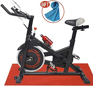 Apelila Spinning Bike Exercise Stationary,Health Fitness Indoor Cardio Cycling Bicycle with LED Screen,Phone Holder,Free Mat & Water Bottle,with Light Blue Cooling Towel