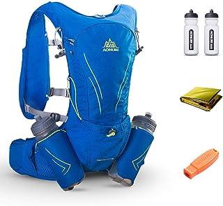 AONIJIE 15L Ultra Lightweight Running Vest Marathon Backpack Hydration Pack 2 Pcs 600 ML Water Bottle - Adjustable Padded Shoulder, Chest & Waist Straps - Reflective Design - Daypack Cycling & Hiking