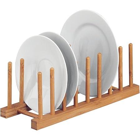 Zeller 25278 Support en Bambou pour Assiettes, Brun, 34 x 12,5 x 12 cm