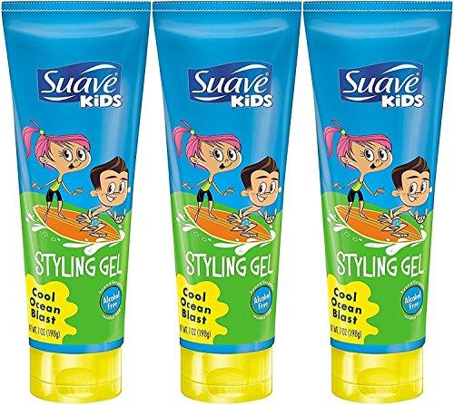 Suave Kids Styling Gel, Cool Ocean Blast, 7 Ounce (Pack of 3)
