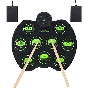 ammoon Batterie Électronique Drum Set, portable électronique Roll Up Tambour, de batterie de pratique sensible au toucher enroulable numérique