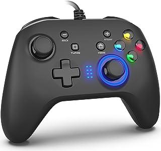 ゲームコントローラー PC USB有線ゲームパッド 連射機能 モーター振動 LEDバックライト JD-SWITCH機能 スティック2つ PC(Xinput)、PC(Dinput)、Android、Switchに対応 ブラック