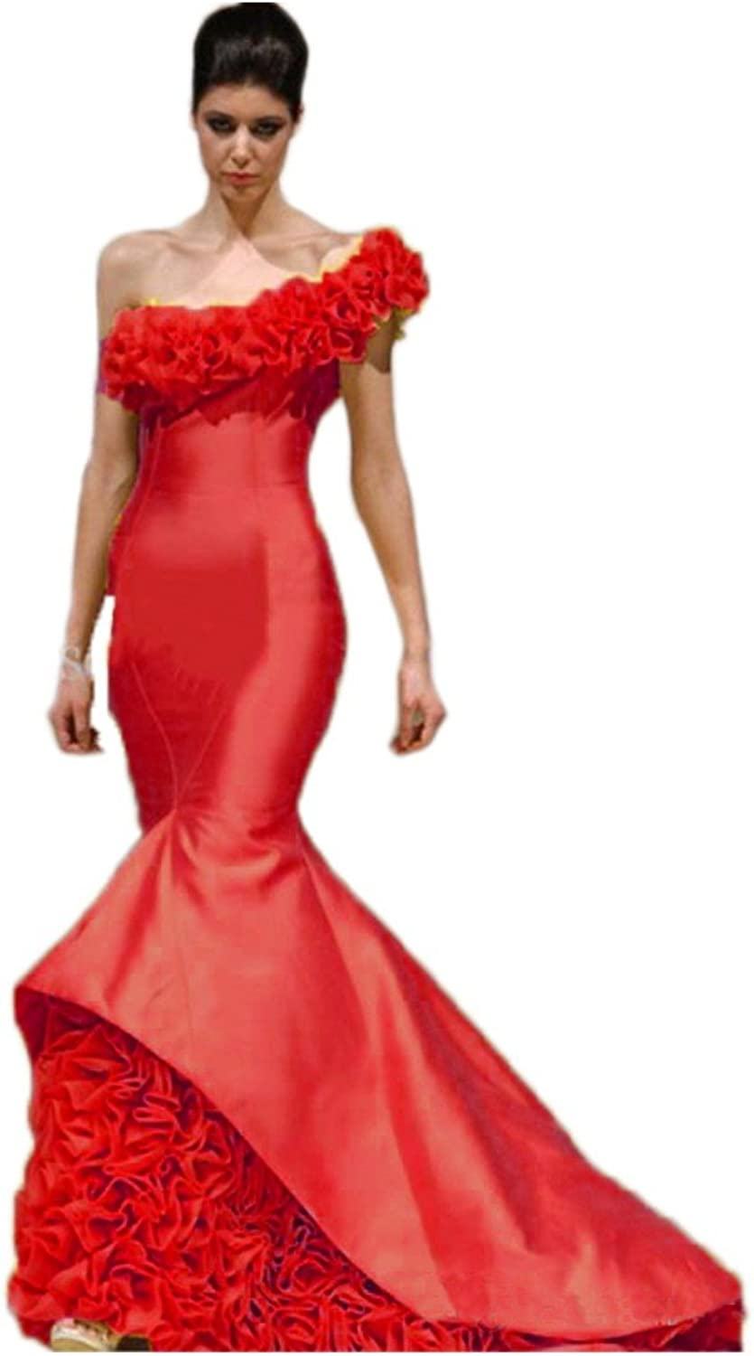 Beilite Women's Satin Mermaid Prom Dress One Shoulder Evening Dress Long