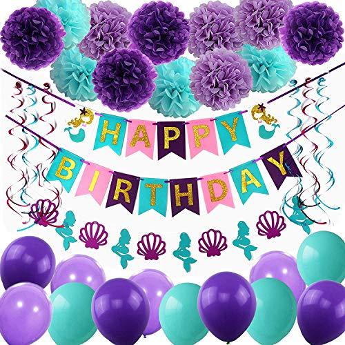 Globos de látex para fiesta de cumpleaños con texto en inglés 'Happy Birthday' (globos de sirena)