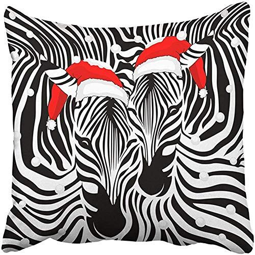 Funda de almohada decorativa de 45,72 x 45,72 cm, de poliéster, diseño de cebra con sombrero de Papá Noel y Feliz Navidad y feliz Año Nuevo Animal Piel Cojín Dos Lados Funda de almohada Estampado Cuadrado para el Hogar