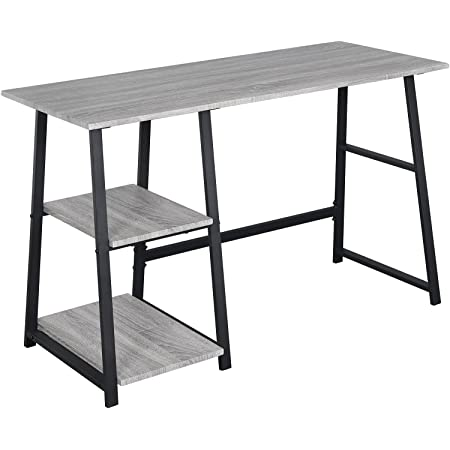WOLTU® TSG25gr Bureau d'ordinateur avec 2 étagères,Table de Bureau Table de Travail en aggloméré et Acier, 120x50x73cm (LxPxH)