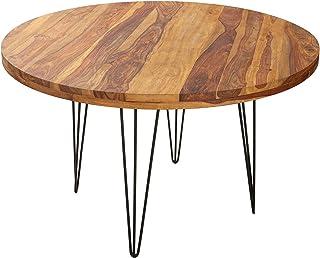 Table de salle à manger ronde en sheesham aspect industriel Noir naturel 120 cm