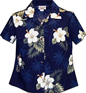 Ladies Aloha Shirts Hibiscus Island Navy