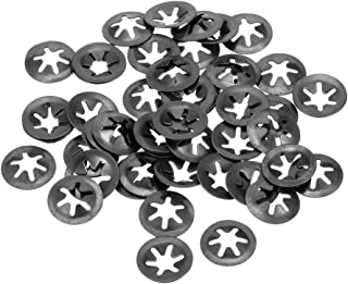 uxcell M6 Starlock Washer 5.4mm I.D Internal Tooth Lock Washers Push-On Locking Speed Clip 65Mn Black Oxide Finish 60pcs 14mm O.D
