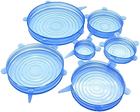 Amazon.com: A-YSJ Silicone lids 6 Pcs Silicone Stretch Lids Keeping Fresh  Seal Reusable Bowl Pot Lid Cover Pan Cooking Kitchen Accessories (Color :  Blue): Kitchen & Dining