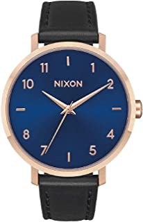 Nixon Women's Arrow Stainless Steel Japanese-Quartz Watch with Leather-Synthetic Strap, Black, 16.76 (Model: A10912763)