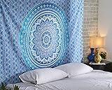 RAJRANG BRINGING RAJASTHAN TO YOU Blue Ombre Indian Wall Hanging - Hippie Mandala Tapiz Bohemia Colcha Ethnic Dorm Decor - Azul - 213 x 137 cm
