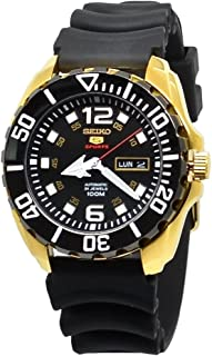 5 'Baby Monster' 100M Automatic Watch Gold Tone Rubber Strap SRPB40K1