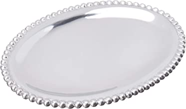 MARIPOSA Beaded Statement Oval Tray, Silver