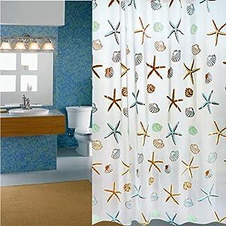 SKEIDO Polyester Fabric Starfish Printing Shower Curtain - 180 x 200 cm
